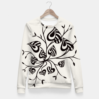 Thumbnail image of Abstract Flower With Pointy Leaves Fitted Waist Sweater, Live Heroes
