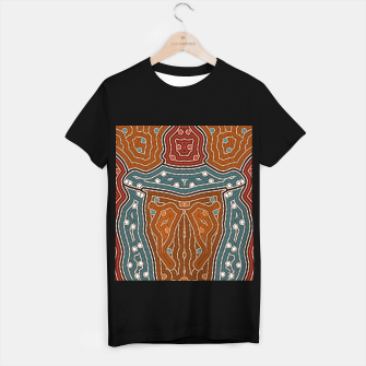 Thumbnail image of An illustration based on aboriginal style of dot painting depicting landscape by night before settlement. T-shirt regular, Live Heroes
