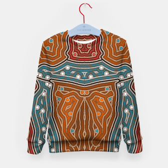 Thumbnail image of An illustration based on aboriginal style of dot painting depicting landscape by night before settlement. Kid's Sweater, Live Heroes