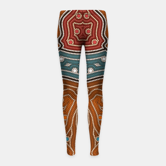 Thumbnail image of An illustration based on aboriginal style of dot painting depicting landscape by night before settlement. Girl's Leggings, Live Heroes