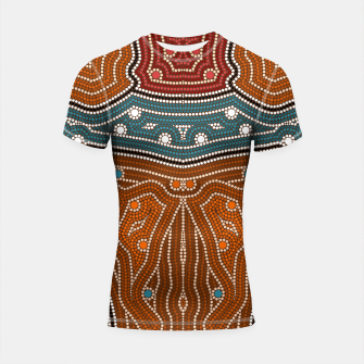 Thumbnail image of An illustration based on aboriginal style of dot painting depicting landscape by night before settlement. Shortsleeve Rashguard, Live Heroes