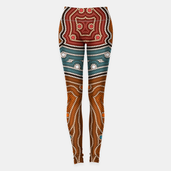 Thumbnail image of An illustration based on aboriginal style of dot painting depicting landscape by night before settlement. Leggings, Live Heroes