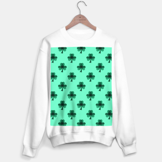 Thumbnail image of Sparkly Emerald Green Sparkles Shamrock Clover pattern turquoise Sweater regular, Live Heroes