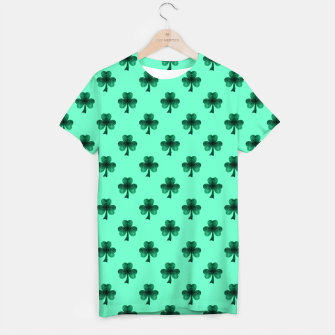 Thumbnail image of Sparkly Emerald Green Sparkles Shamrock Clover pattern turquoise T-shirt, Live Heroes
