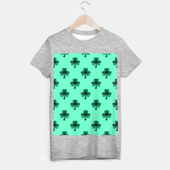 Thumbnail image of Sparkly Emerald Green Sparkles Shamrock Clover pattern turquoise T-shirt regular, Live Heroes
