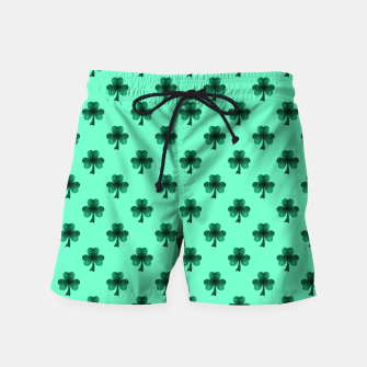 Thumbnail image of Sparkly Emerald Green Sparkles Shamrock Clover pattern turquoise Swim Shorts, Live Heroes