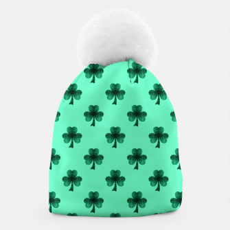 Thumbnail image of Sparkly Emerald Green Sparkles Shamrock Clover pattern turquoise Beanie, Live Heroes