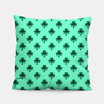 Thumbnail image of Sparkly Emerald Green Sparkles Shamrock Clover pattern turquoise Pillow, Live Heroes