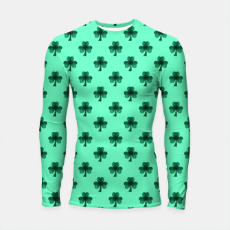 Thumbnail image of Sparkly Emerald Green Sparkles Shamrock Clover pattern turquoise Longsleeve Rashguard , Live Heroes