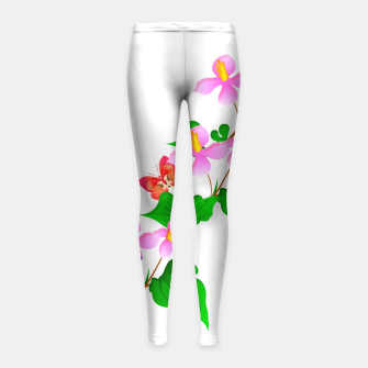 Thumbnail image of Flowers and Butterfly's  Girl's Leggings, Live Heroes