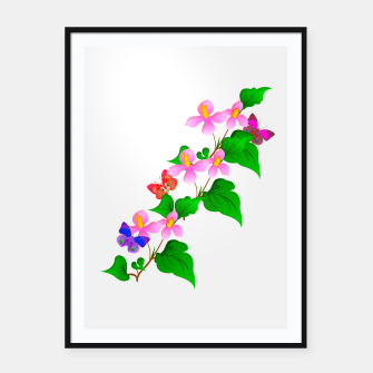 Thumbnail image of Flowers and Butterfly's  Framed poster, Live Heroes