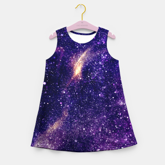 Thumbnail image of Ultra violet purple abstract galaxy Girl's Summer Dress, Live Heroes