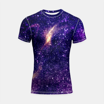 Thumbnail image of Ultra violet purple abstract galaxy Shortsleeve Rashguard, Live Heroes