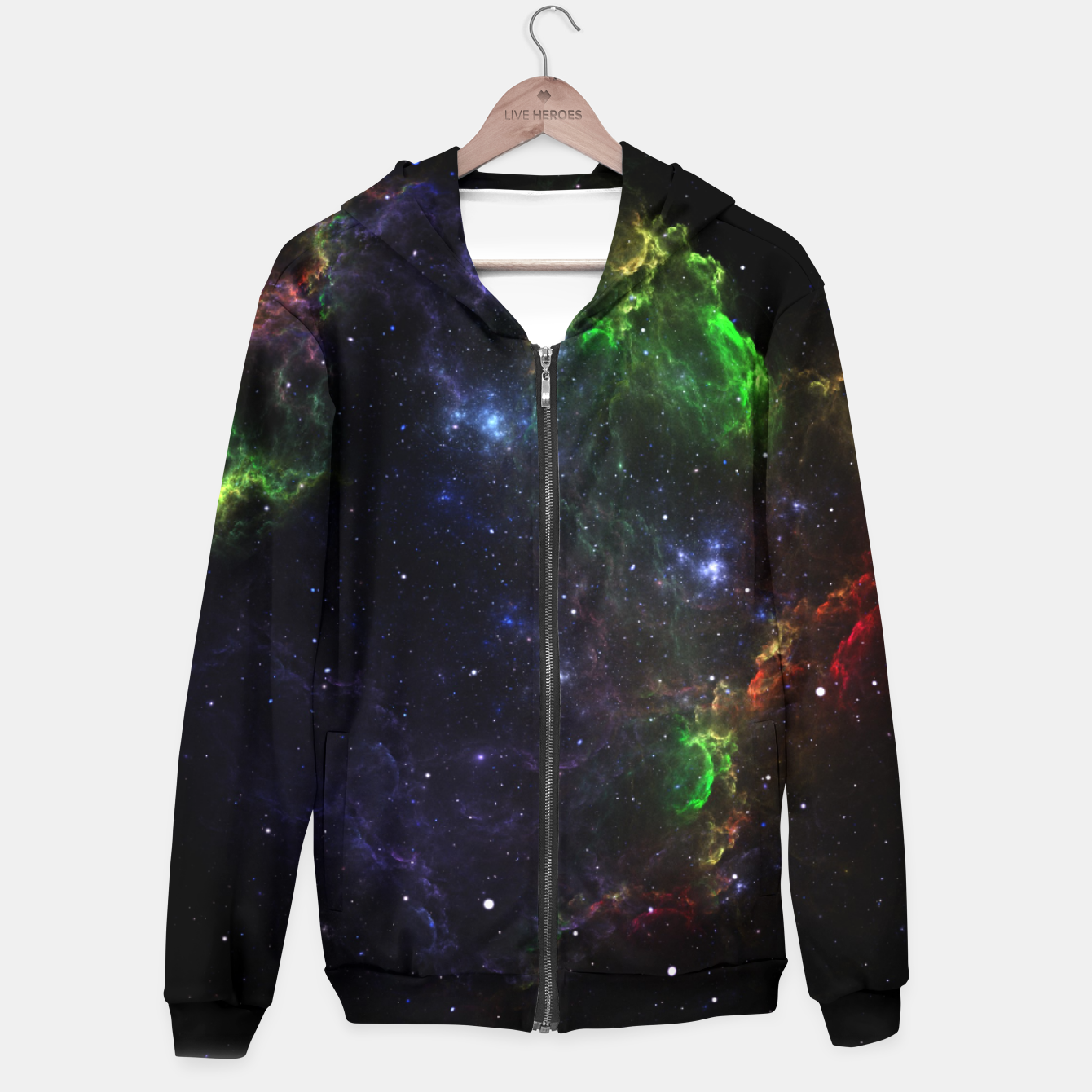 Image of Mass Star Nebula Fractal Art Zip up hoodie - Live Heroes