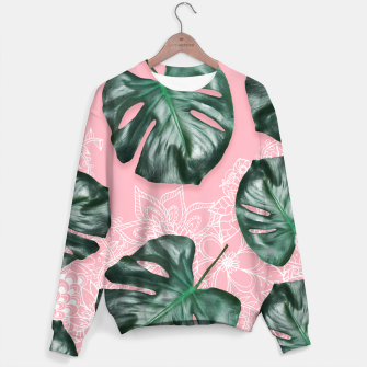 Thumbnail image of Modern 3d green monstera leaf photo on pink white floral illustration Sweater, Live Heroes