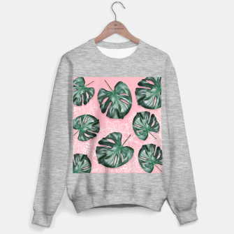 Thumbnail image of Modern 3d green monstera leaf photo on pink white floral illustration Sweater regular, Live Heroes