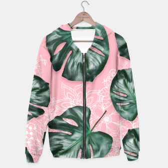 Thumbnail image of Modern 3d green monstera leaf photo on pink white floral illustration Hoodie, Live Heroes