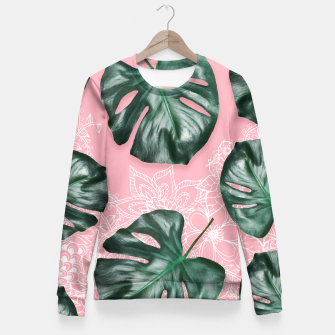 Thumbnail image of Modern 3d green monstera leaf photo on pink white floral illustration Fitted Waist Sweater, Live Heroes