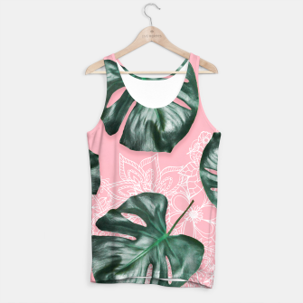 Thumbnail image of Modern 3d green monstera leaf photo on pink white floral illustration Tank Top, Live Heroes