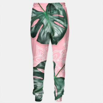 Thumbnail image of Modern 3d green monstera leaf photo on pink white floral illustration Sweatpants, Live Heroes