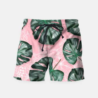 Thumbnail image of Modern 3d green monstera leaf photo on pink white floral illustration Swim Shorts, Live Heroes