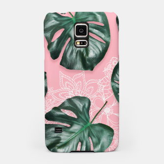 Thumbnail image of Modern 3d green monstera leaf photo on pink white floral illustration Samsung Case, Live Heroes