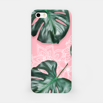 Thumbnail image of Modern 3d green monstera leaf photo on pink white floral illustration iPhone Case, Live Heroes
