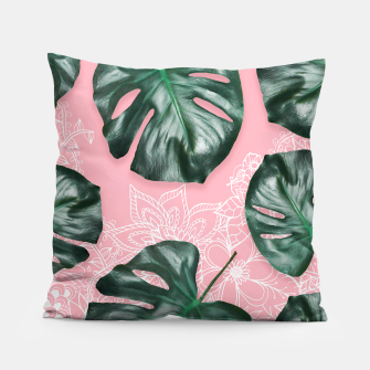 Thumbnail image of Modern 3d green monstera leaf photo on pink white floral illustration Pillow, Live Heroes
