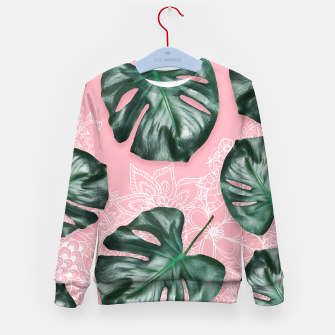 Thumbnail image of Modern 3d green monstera leaf photo on pink white floral illustration Kid's Sweater, Live Heroes