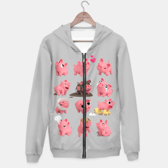 Rosa the Pig Grid Grey Hoodie thumbnail image