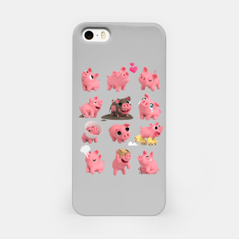 Rosa the Pig Grid Grey iPhone Case thumbnail image