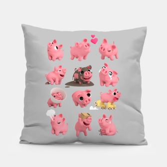 Rosa the Pig Grid Grey Pillow thumbnail image