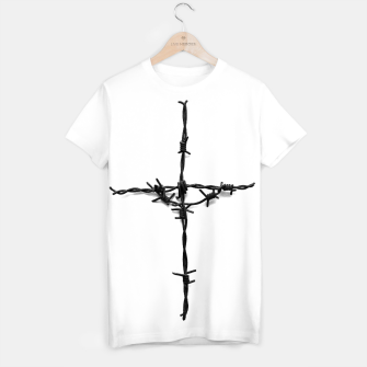 Thumbnail image of Barbed_Wire_Cross_T-shirt_White, Live Heroes