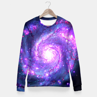 Ultra Violet Whirlpool Galaxy Fitted Waist Sweater obraz miniatury