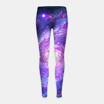 Ultra Violet Whirlpool Galaxy Girl's Leggings obraz miniatury