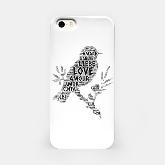 Thumbnail image of Bird illustrated with Love Word of different languages iPhone Case, Live Heroes