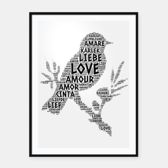 Thumbnail image of Bird illustrated with Love Word of different languages Framed poster, Live Heroes