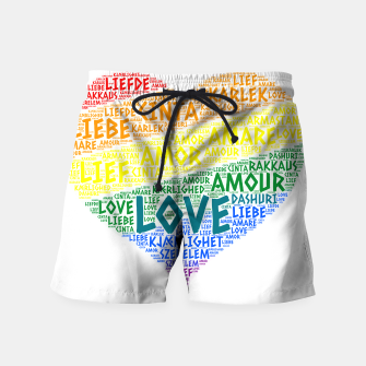 Thumbnail image of LGBT Rainbow Hearth Flag illustrated with Love Word of different languages Swim Shorts, Live Heroes