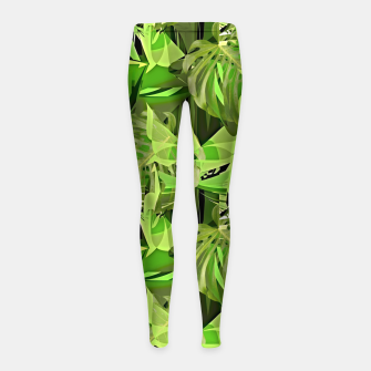 Thumbnail image of Tropical Jungle Greens Camouflage  Girl's Leggings, Live Heroes