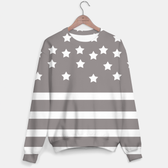 Thumbnail image of Grey and White Stars & Stripes Sweater, Live Heroes