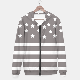 Thumbnail image of Grey and White Stars & Stripes Hoodie, Live Heroes