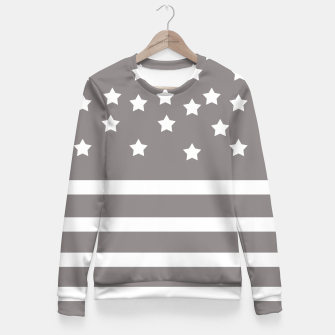 Thumbnail image of Grey and White Stars & Stripes Fitted Waist Sweater, Live Heroes
