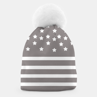 Thumbnail image of Grey and White Stars & Stripes Beanie, Live Heroes