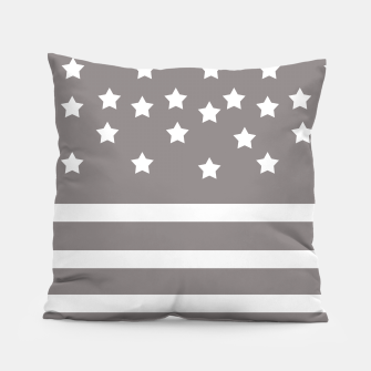 Thumbnail image of Grey and White Stars & Stripes Pillow, Live Heroes