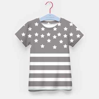 Thumbnail image of Grey and White Stars & Stripes Kid's T-shirt, Live Heroes