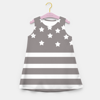 Thumbnail image of Grey and White Stars & Stripes Girl's Summer Dress, Live Heroes