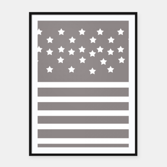 Thumbnail image of Grey and White Stars & Stripes Framed poster, Live Heroes