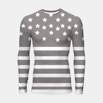 Thumbnail image of Grey and White Stars & Stripes Longsleeve Rashguard , Live Heroes
