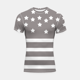 Thumbnail image of Grey and White Stars & Stripes Shortsleeve Rashguard, Live Heroes
