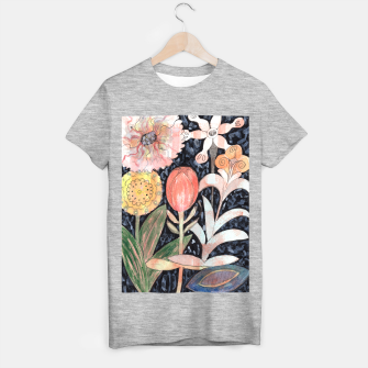 Miniatur Mixed Flowers with Tulip on Black  T-shirt regular, Live Heroes